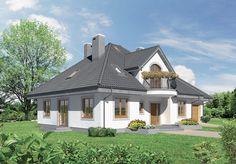 """""""Dobra wróżba - wariant III"""" Murator M68c - efektowny projektu domu z malowniczymi facjatkami i półokrągłymi balkonami."""