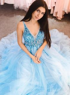 Blue v neck tulle beads long prom dress, evening dress KS2294 – shinydress A Line Evening Dress, Blue Evening Dresses, Prom Dresses Blue, Homecoming Dresses, Formal Dresses, Party Dresses, Prom Gowns, Dress Prom, Dress Long