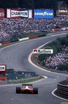 Ayrton Senna getting in Eau Rouge at high speed in (Belgium GP - Spa Francorchamps - 1991)