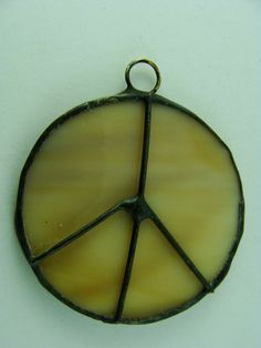 Handmade with Love and Peace sign Glass and Wire by BranchingHope