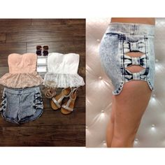 Lace tube top fashion top  Acid washed bow