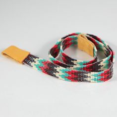 Turquoise Red Rush Beaded Cowboy Hatband Bead Loom by PuebloAndCo