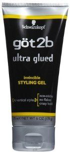 got2b Ultra Glued invincible styling gel.  This makes your hair very hard, but it holds really well. :)