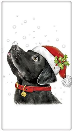Retro Black Labrador Santa Hat Towel - A Love of Dish Towels Charm your guests with a fabulous vintage look flour sack towel. For years, flour sack towels were the work horse of everyday kitchen life! Made of quality cotton from Egypt or India, this towel Labrador Retrievers, Black Labrador Retriever, Christmas Drawing, Christmas Paintings, Christmas Animals, Christmas Dog, Schwarzer Labrador Retriever, Foto Gift, Labrador Noir