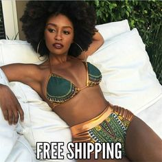❤❤African Print Two-Pieces Bath Suits Bikini Set Sexy Geometric Swimwear❤❤  Item Type: Bikini Set Gender: Female Pattern Type: Floral ✔Fit: Fits smaller than usual. Please check  sizing info Support Type: Wire Free Material: 82% polyester & 18% spandex With Pad: Yes Color: Black/White/Light Blue/Rose Red/Orange/Dark Blue ❤❤✔Size: S/M/L/XL❤❤❤ ❣❣❣PLEASE CHECK THE MEASURE INFORMATION IN THE LAST PIC ❣❣❣ Style: Summer Style ❤❤❤✔Color: Green, B...