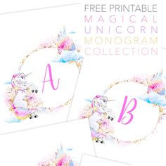 Today we have something extra SPECIAL for you, the Free Printable Magical Unicorn Monogram Collection.  They are perfect for so many things and don't they look so delightful!?  They come in 5X7 & 8×10, but they can be resized so you can use these Letters for Banners, Buntings, Gift Tags, Weddings, Greeting Cards, Place Card Settings, …