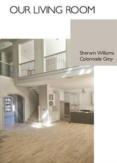 Our Open Space Living Room in Sherwin Williams Colonnade Gray 7641 . A perfect warm neutral grey http://elizabethbixler.com/sherwin-williams-gray-versus-greige/