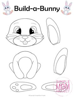 sunday school crafts preschool Free Printable Build an Easter Bunny Craft for Kids - Simple Mom Project Easter Bunny Template, Bunny Templates, Templates Free, Easter Bunny Colouring, Bunny Coloring Pages, Easter Coloring Pages Printable, Rabbit Crafts, Bunny Crafts, Animal Crafts For Kids