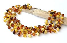 Natural Amber Necklace, Multicolor Amber Jewelry, Multistrand Necklace, Summer Jewelry, Untreated amber, natural gift, healing jewelry