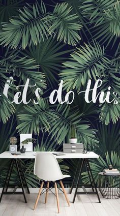 This motivational mural is inspired by the urban jungle. The serene greens of the foliage, positioned alongside the monochrome palette of the white text overlay and black background, offer a dramatic and impactful feature wall for any home office or workspace. #wallpaper #mural #wallmural #homeoffice #girlboss #interiorandhome #wallpapermuralsjungle