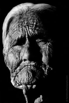 104 year-old Navajo Native American woman living near the rim of Canyon de Chelly, Arizona. Strength.