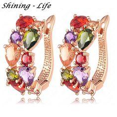 Fine Earings Fashion Jewelry 18K Rose Gold Plate Multicolor Cubic Zircon Flower Stud Earrings For Women Pendientes Brinco Bijoux | Price: US $17.57 | http://www.bestali.com/goto/32404862941/10