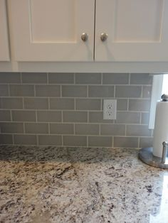 Kitchen Backsplash Grey Subway Tile grey glass subway tile backsplash and white cabinet for small