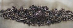 Rhinestone Applique in Gunmetal for Bridal Sashes by MaryNotMartha, $68.00