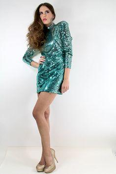 70s Vintage OLEG CASSINI Disco Sequined Dress by TatiTatiVintage, $134.00
