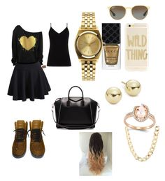 """""""black and gold look"""" by goddessjackson on Polyvore featuring NIKE, Diane Von Furstenberg, Gucci, Ray-Ban, Sonix, Lord & Taylor, Charlotte Russe, Givenchy and Nixon"""