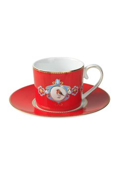 PiP Love Birds Cup and Saucer Cappuccino Red