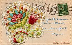 Stiched Flower Postcard by kim neumann