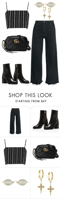"""""""Untitled #2150"""" by kellawear on Polyvore featuring RE/DONE, Topshop and Gucci"""