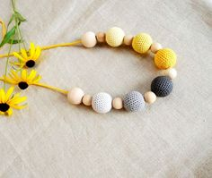 Yellow Grey Crochet  Necklace Nursing natural by sweetshtuchky