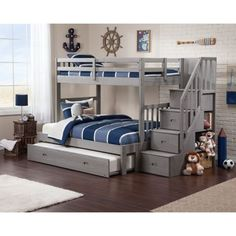 Cascade Staircase Brushed Grey Twin-over-full Bunk Bed with Trundle Bed. Wider bed at the bottom for a parent to sit and tell tall tales.
