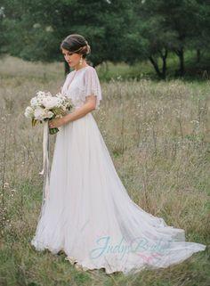 Fairy flowy tulle wedding dress with bolero,