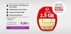 Vodafone CallYa / Prepaid mit bis zu 2,5GB LTE + EU-Roaming ab 9,99€ http://www.simdealz.de/vodafone/callya-tarife-uebersicht/