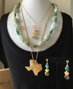 Handmade Texas Statement Set, 3 Necklaces, Earrings, Turquoise, Green Aquamarine  | eBay