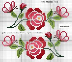 Here you can look and cross-stitch your own flowers. Cross Stitch Rose, Cross Stitch Borders, Cross Stitch Flowers, Cross Stitch Charts, Cross Stitch Designs, Cross Stitching, Cross Stitch Embroidery, Hand Embroidery, Cross Stitch Patterns