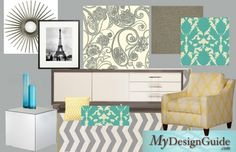 Modern touches and classical shapes helped create this home office/mom cave. A beautiful white credenza for filing, large round starburst mirror for smiling. Interior Design Help, Home Office Design, Grey Chevron Rugs, Gray Home Offices, White Credenza, Yellow Office, Living Room Inspiration, Color Inspiration, Woman Cave