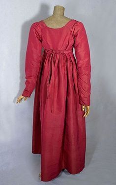 Silk faille, bib-front dress, c.1800-1810