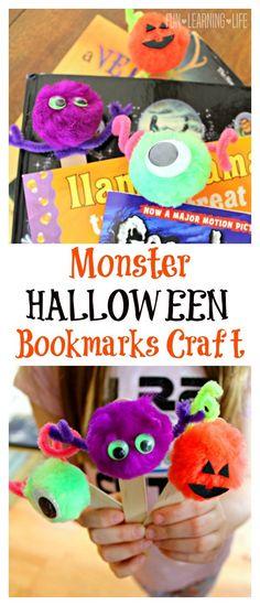 Monster Halloween Bookmarks Craft Kindergarten Halloween Party, Classroom Halloween Party, Classroom Crafts, Halloween Kids, Halloween Crafts, Happy Halloween, Bookmark Craft, Bookmarks Kids, Family Crafts