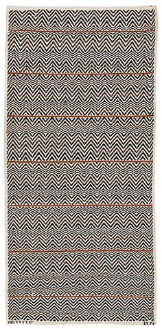 Barbro Nilsson: designer | rosengång med brun rand: rosepath with brown stripe | 215 cm x 103 cm | AB Märta Måås-Fjetterström | Båstad, Sweden | 1943 | signed AB MMF BN