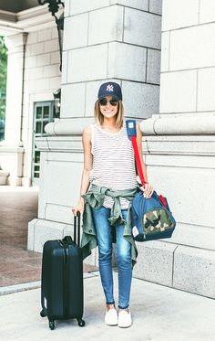 DETAILS : STRIPED TANK | OLIVE BUTTON-UP TOP | DENIM | BASEBALL CAP | SUNGLASSES | WATCH | WHITE SLIP-ON SNEAKERS | WEEKENDER BAG | HARD CASE CARRY-ON SUITCASE CODY : WHITE HENLEY | WEEKENDER BAG | CH