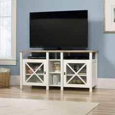 Walmart: Sauder Cottage Road TV Stand for TVs up to Soft White White Tv Stands, Cool Tv Stands, Tv Stand Set, Corner Tv Stands, Decor Inspiration, Media Storage, Tv Storage, Cabinet Storage, Online Shopping