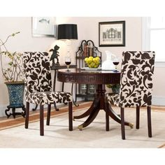 Safavieh Hutchinson Floral Creme & Brown Dining Chairs - Set of 2