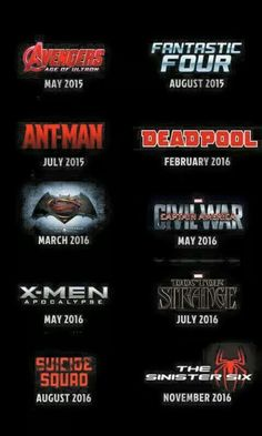 "This is an awesome comic movie calendar for the next two years. It's missing Kingsman & ""The Lego Batman Movie"", but other than that it's spot on. #Comics #Movies #Avengers #AgeOfUltron #FantasticFour #AntMan #Deadpool #BatmanVSuperman #DawnOfJustice #CivilWar #Apocalypse #DoctorStrange #SuicideSquad #SinisterSix #Kingsman #TheLegoBatmanMovie #Marvel #DC #Icon #Disney #WarnerBrothers #Fox"