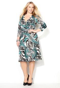 Blue Zebra Wrap Dress-Plus Size Dress-Avenue