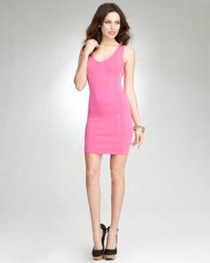 neon pink bebe dress