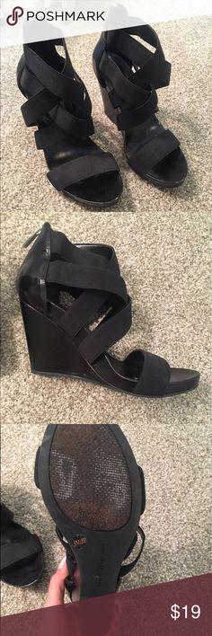 Black BCBG strappy wedges Black BCBG strappy wedges BCBGeneration Shoes Wedges