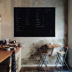 Idea for the kitchen: painting the wall back to white with a black block for drawing and lists... (New Deli Yoga, Berlin)