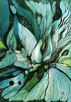 Green and turquoise watercolor and ink flower doodle drawing by zzen on DeviantART Art And Illustration, Abstract Watercolor, Watercolor And Ink, Abstract Art, Plants Watercolor, Water Color Abstract, Watercolor Artists, Watercolor Pattern, Guache