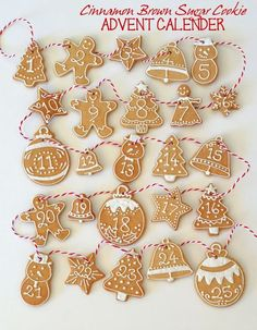 butter hearts sugar: Cinnamon Brown Sugar Advent Calendar Cookies Their recipe sounds delicious, too! Alcohol Advent Calendar, Craft Beer Advent Calendar, Advent Calenders, Christmas Biscuits, Christmas Treats, Christmas Baking, Christmas Cookies, Galletas Cookies, Iced Cookies