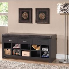 Winslow White Shoe Storage Cubbie Bench | Overstock.com Shopping - The Best Deals on & Image result for entryway shoe storage bench coat rack | Projects ...