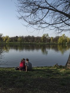 park, piknik, lake, people, teenagers, lawn, hill, trees, sitting, leisure, color, couple, water, love, romatism