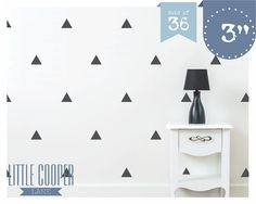 Triangles 3 inch Modern Wall Decal Vinyl Sticker for Boys or Girls Set of 36_For Nursery, Kids OR Teens Room_ID#1312
