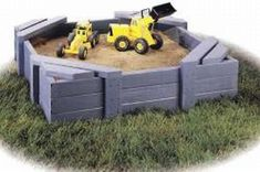 simple sandbox with a seat on the corners