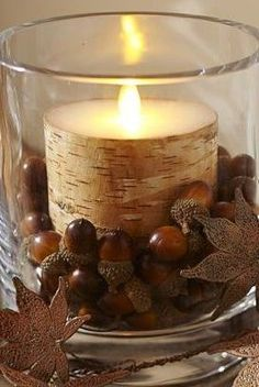 Acorns, a birch candle, and a few fall leaves...so simple