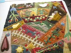 """Wool and flannel crazy quilt """"block 2"""".  Are you KIDDING me--this is just ONE block.  Love, Love, LOVE!"""