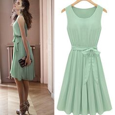 New Women's Fashion Pleated Chiffon Bow belt Mint Green Sleeveless Dress on Wanelo Dresses 2013, Cute Dresses, Summer Dresses, Casual Dresses, Cheap Dresses, Short Dresses, Dress Skirt, Lace Dress, Dress Prom